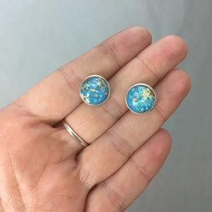 Monkeystuff Jewelry - Handmade resin gold flake stud earrings